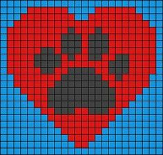 Heart and dog / cat paw print design bead loom or square stitch pattern. Beaded jewellery making Alpha Patterns, Loom Patterns, Beading Patterns, Knitting Charts, Knitting Patterns, Crochet Patterns, Pixel Crochet, Crochet Chart, Cross Stitch Heart