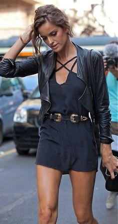 Belted black Romper + moto jacket perfect rocker street chic style.