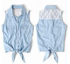 lace and jean vest