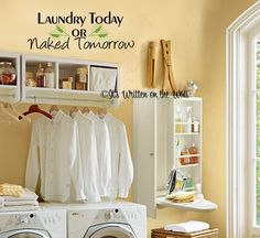 Laundry Today or Naked Tomorrow  Vinyl by ItsWrittenOnTheWall, $19.99