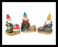 Set Of 3 Solar Garden Gnomes