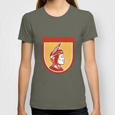Native American Indian Chief Shield Retro T-shirt
