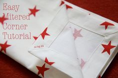cloth napkins with mitered corners tutorial