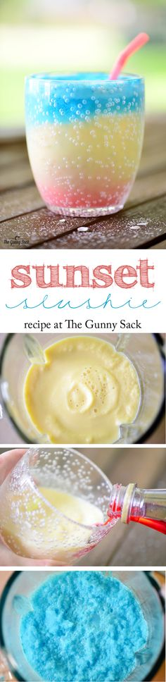 Sunset Slushie - A perfect beverage for sharing with family and friends. Make it as a layered sunrise drink for breakfast too.