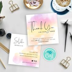 Customer Thank You Note, Business Thank You Notes, Thank You For Order, Loyalty Card Template, Thank You Card Template, Craft Business, Business Ideas, Ecommerce Packaging, Thank You Card Design