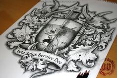Family Coat Of Arms Tattoo Design - Dark Design Graphics Shield Tattoo, Armor Tattoo, Family Crest Tattoo, Family Tattoos, Trendy Tattoos, Unique Tattoos, Tattoo Arm Designs, Desenho Tattoo, Samoan Tattoo