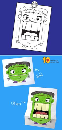 Frankenstein folding paper craft for Halloween Halloween Paper Crafts, Halloween Activities For Kids, Cute Halloween Costumes, Halloween Crafts For Kids, Paper Crafts For Kids, Crafts For Kids To Make, Halloween Party Decor, Halloween Kids, Halloween Themes
