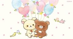 Korilakkuma et Chairoikoguma Rilakkuma, Kawaii Wallpaper, Iphone Wallpaper, Rilakuma Wallpapers, Pandora Jewelry Box, Night Sky Wallpaper, Cactus Drawing, Cute Doodles, Cute Unicorn