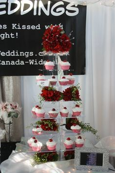 Aglow Weddings & Events.  The Lauren Illuminated Cake Stand with Red Floral