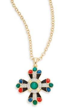 NEW! VIBRANT PAVE' PENDANT NECKLACE By Kenneth Jay Lane/Retail $200 #KennethJayLane #Pendant