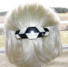 """VTG HAIR CLIP GRIP BARRETTE HEAD PIECE LUCITE PLASTIC 2 COLOR PEARLIZED 4"""" DECO 38$"""