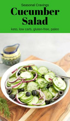 Summer in a bowl! This Cucumber Salad {Keto} is light, refreshing and so EASY to make. It's perfect for meal prep, picnics, cookouts and potlucks. - Seasonal Cravings keto paleo salad via Potluck Recipes, Clean Recipes, Salad Recipes, Keto Recipes, Healthy Recipes, Easy Recipes, Free Recipes, Keto Foods, Sweets Recipes