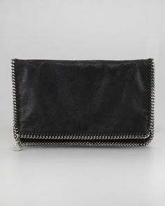 Faux Leather Falabella Fold-Over Clutch Bag, Black by Stella McCartney at Neiman Marcus.