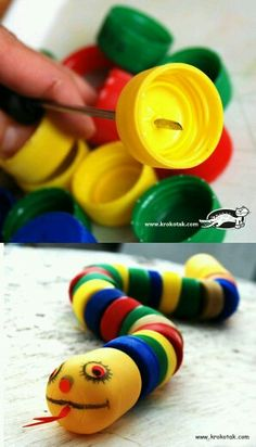 This cute little snake, made of recycled plastic bottle caps, would make a fun bird toy. Kids Crafts, Projects For Kids, Diy For Kids, Diy And Crafts, Sock Crafts, Plastic Bottle Caps, Bottle Cap Crafts, Creative Arts And Crafts, Creative Ideas