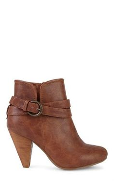 Deb Shops Short Western Bootie with Buckled Strap $30.00