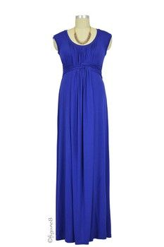 Arianna Basket Weave Maxi Nursing Dress in Royal by Japanese Weekend with free shipping