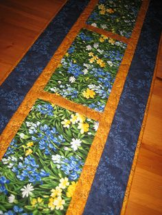Table Runner Spring Summer Blue and Yellow Flowers by TahoeQuilts