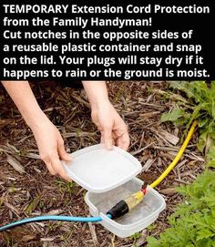 How to keep extension cords dry outdoors - try this hack! Neat idea