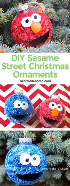 DIY Sesame Street Inspired Christmas Ornaments. This easy kid's craft makes Elmo and Cookie Monster Christmas balls to hang on your tree or give as kid made gifts! @allthingschristmas #DIYchristmasornaments #sesamestreetornaments @heartofDeborah