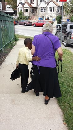 """A five year old little """"brother"""", assisting an 83-year old sister."""