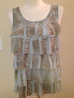 Chico's Women's Size 0 Green Blue Brown Tiered Sleeveless Top Shirt Floral  #Chicos #Blouse