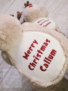 Personalised super soft and cuddly teddies, and christmas presents/gift new baby gift. What Is Christmas, First Christmas, Merry Christmas, Present Gift, Red Glitter, New Baby Gifts, Christmas Presents, New Baby Products, Teddy Bears