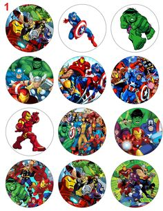 THE AVENGERS (2 Options) Digital Printable Birthday Party Cupcake Toppers Favor Tags (GC-015). $5.00, via Etsy.                                                                               More