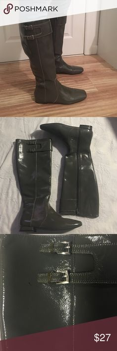 Charles David Boots Dark Gray  leather pointed toe and zipper closure. These boots are pre owned and worn in but looks like new. There's two marks on the top of one boot (please see pics). The inside lining are leather. Charles David Shoes Over the Knee Boots