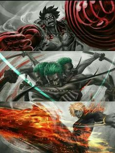 One Piece, Strawhat Pirates, Sanji, Zoro, Luffy