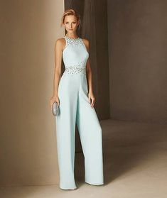 Pronovias > BLASCO - Straight-cut cocktail jumpsuit in crepe, halter neck and fitted at the waist Sexy Dresses, Evening Dresses, Formal Dresses, Party Dresses, Wedding Dresses, Dress Party, Party Wear, Mode Outfits, Fashion Outfits