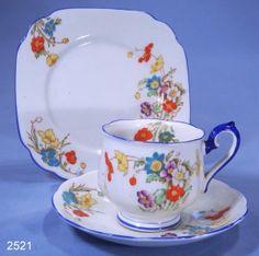 Royal Albert Crown China Betty Hand Enamelled Vintage Bone China Tea Trio Pattern 8618