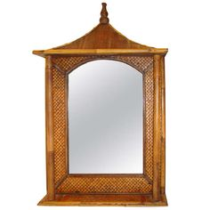 Vintage Bamboo and Rattan Pagoda Mirror Wall Lamp Shades, Cool Furniture, Rattan, Bamboo, Wall Mirrors, Dressing Room, Modern Wall, Antiques, Vintage