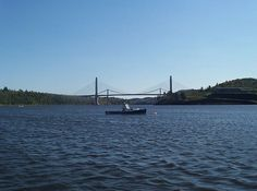 The Penobscot Narrows Bridge, carrying U.S. Route 1 and Maine State Route 3 over the Penobscot River.