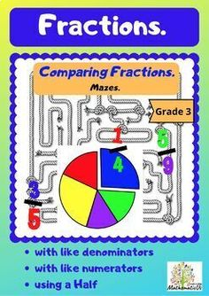 Those mazes are an engaging way for students to improve skills in Comparing Proper Fractions.This resource includes 10 MAZES with keys to practice the topics: - Comparing Fractions with like denominators, - Comparing Fractions with like numerators, - Comparing Fractions with like denominators ... Simplifying Fractions, Comparing Fractions, Upper Elementary Resources, Math Resources, Elementary Math, Math Classroom, Classroom Activities, 5th Grade Activities, Math Stations