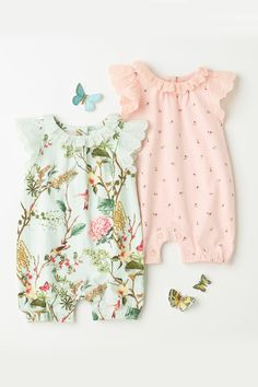 711f3ebf Baby clothes planning · Buy Aqua/Pink Print Rompers Two Pack (0mths-2yrs)  from the Next
