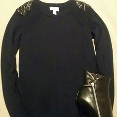 Ann Taylor Loft Black Jeweled Shoulder Sweater Black 51% wool/49% acrylic jeweled encrusted shoulder. Sleeves are elasticized for the casual semi pushed up sleeves look. Im so bad at describing this stuff!! Its super soft and classy!! Offers welcome :) Ann Taylor Loft Sweaters Crew & Scoop Necks