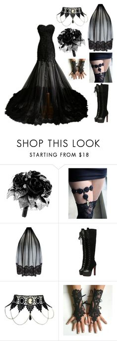 """Gothic Wedding #1"" by insane-alice-madness ❤ liked on Polyvore featuring Loveday London"