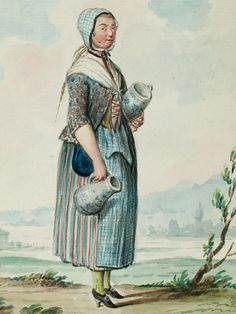 """1770s - 18th century - woman's outfit with mixed print fabrics (jacket in floral, skirt in stripes, apron in plaid/checks that appears to match the cap) - From """"An album containing 90 fine water color paintings of costumes."""" Turin : [s.n.] , [ca.1775]. In the collection of the Bunka Fashion College in Japan."""