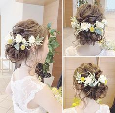* *春色の … – From Parts Unknown Wedding Hair And Makeup, Wedding Hair Accessories, Hair Makeup, Rustic Wedding Hairstyles, Bride Hairstyles, Bridal Hair Inspiration, Hair Arrange, Hair Setting, Floral Hair