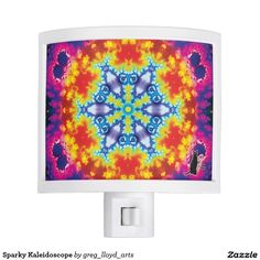 Sparky Kaleidoscope Night Light - This Kinetic Collage Kaleidoscope Night Light will illuminate your darkened evening sojourns and serve as a mandala for meditation as well as a focal point for the imagination. Kinetic Collage kaleidoscope compositions are created from special effects video performance art screen capture images. Over 2600 products at my Zazzle online store. Open 24/7 World wide! http://www.zazzle.com/greg_lloyd_arts* + See KC @  http://www.youtube.com/user/kineticcollage