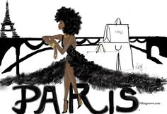 PARIS #nikisgroove #illustrations #blackwomanart (à Paris, France)