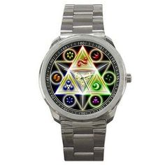 Zelda Triforce Logo Custom Watch   Our watches are made of high quality polished stainless steel with Miyota watches movement made by citizen. Image printed on watches.