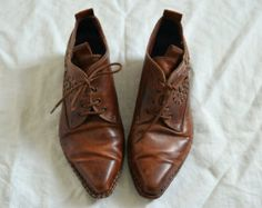 Brown Shoes Pikolinos brown leather shoes brogues western shoes Cowboy boots vtg Southwestern Womens shoes Made in Spain UK 5 Eu 38 US 7.5