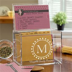 This personalized recipe box is so cute! I LOVE how the lid also acts as a recipe stand and protector - it saves it from all the mess and spills while you're cooking! The personalized recipe cards are adorable, too!