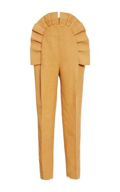 Pleated Ruffle Front Pant by DELPOZO for Preorder on Moda Operandi