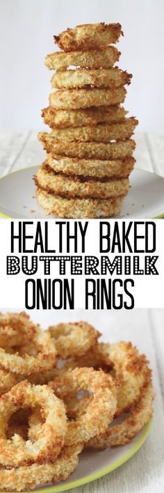 A healthy version of a classic onion ring recipe. The onions are soaked in buttermilk and then baked in panko breadcrumbs for extra crunch.