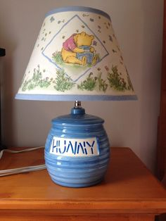 Vtg WINNIE THE POOH Lamp Honey Pot Theamed Blue Yellow Printed Shade Baby  Decor