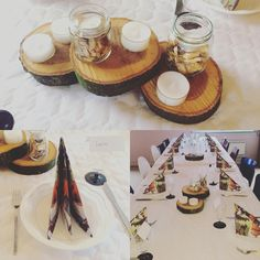 Centerpiece tabledecor . Woodblocks decorated Winther jars and candlelights.