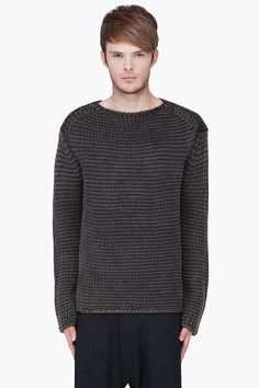 T BY ALEXANDER WANG Charcoal Acid Washed Knit Sweater:  Long sleeve acid washed knitted wool sweater in charcoal. Boatneck collar. 100% wool.