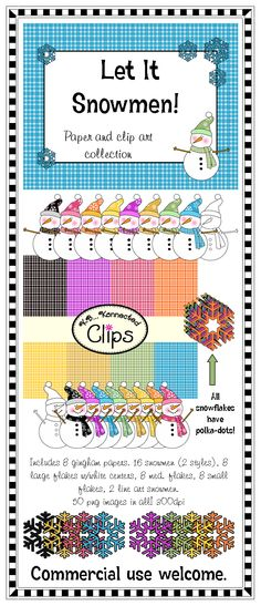 Just added! Let it Snowmen! (clip art and papers) 50 png images 300dpi $ http://www.teacherspayteachers.com/Product/Clip-Art-Let-it-Snowmen-980894